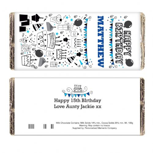 Personalised Birthday Blue Icons Choc Bar